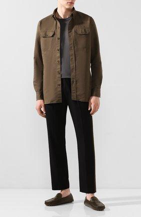 Мужские кожаные мокасины BOTTEGA VENETA хаки цвета, арт. 608763/VBPU1 | Фото 2