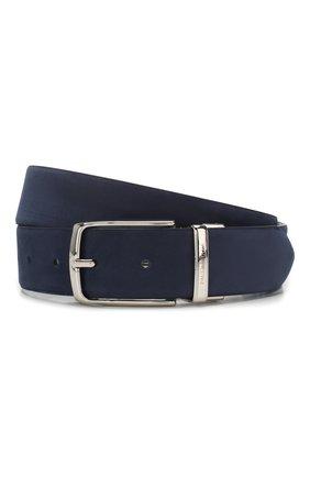 Мужской кожаный ремень PAUL&SHARK темно-синего цвета, арт. E20P6017 | Фото 1