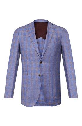 Мужской пиджак из смеси шерсти и шелка LUCIANO BARBERA синего цвета, арт. 111F25/16013 | Фото 1