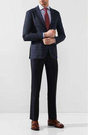 Мужские шерстяные брюки ANDREA CAMPAGNA темно-синего цвета, арт. SC/1 FIBB/VB5478 | Фото 2 (Материал внешний: Шерсть; Длина (брюки, джинсы): Стандартные; Случай: Формальный; Стили: Классический)