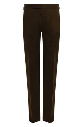 Мужские брюки из смеси хлопка и шелка TOM FORD хаки цвета, арт. 774R24/610043 | Фото 1