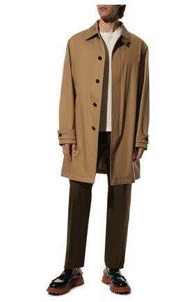 Мужские брюки из смеси хлопка и шелка TOM FORD хаки цвета, арт. 774R24/610043 | Фото 2