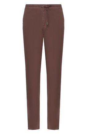Мужские хлопковые брюки ERMENEGILDO ZEGNA коричневого цвета, арт. UUI16/TT13 | Фото 1