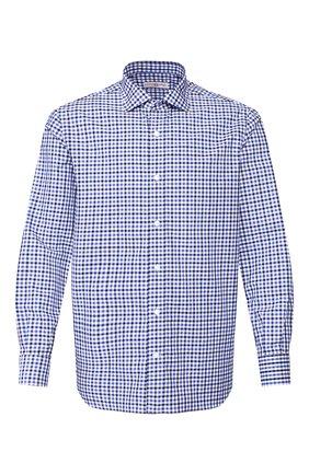 Мужская рубашка из смеси хлопка и льна LUCIANO BARBERA синего цвета, арт. 105489/60062 | Фото 1