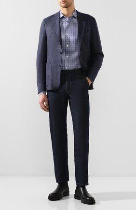 Мужская рубашка из смеси хлопка и льна LUCIANO BARBERA синего цвета, арт. 105489/60062 | Фото 2