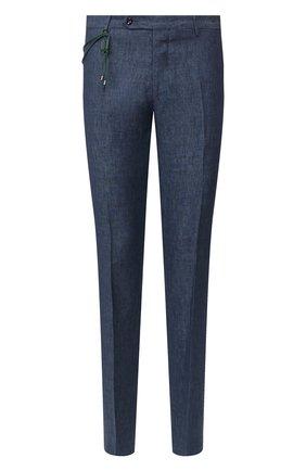Мужской льняные брюки  BERWICH синего цвета, арт. SC/1/LM104 | Фото 1