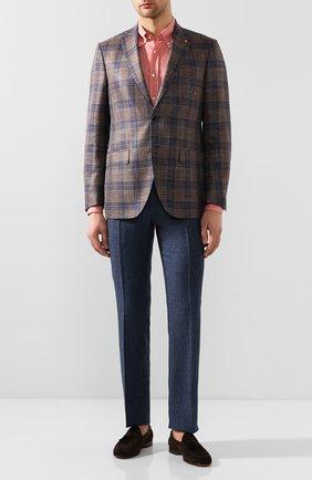 Мужской льняные брюки  BERWICH синего цвета, арт. SC/1/LM104 | Фото 2
