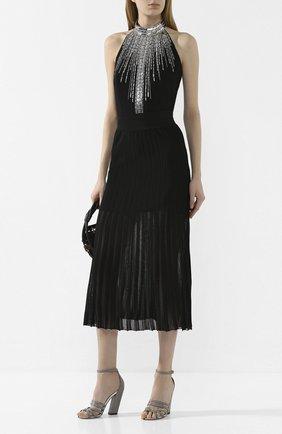Женская юбка из вискозы BALMAIN черного цвета, арт. TF04476/K078 | Фото 2