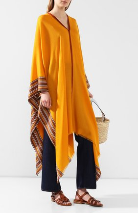 Женская пончо из смеси шелка и кашемира LORO PIANA желтого цвета, арт. FAI5673 | Фото 2