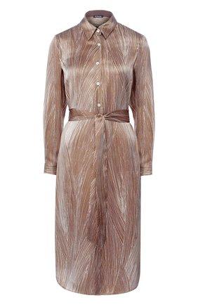 Женское шелковое платье KITON коричневого цвета, арт. D49353K09S83 | Фото 1