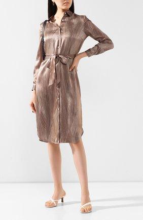 Женское шелковое платье KITON коричневого цвета, арт. D49353K09S83 | Фото 2