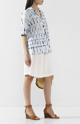Женская хлопковая рубашка NANUSHKA голубого цвета, арт. TAI0_BI0 INDIG0_C0TT0N SHIRTING   Фото 2