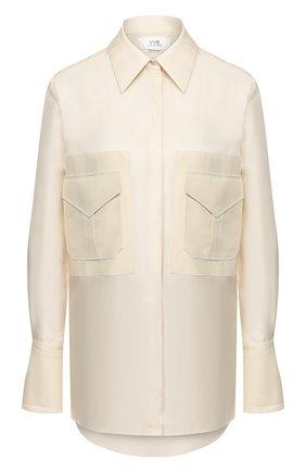 Женская шелковая рубашка VICTORIA, VICTORIA BECKHAM кремвого цвета, арт. 2220WSH000942A | Фото 1