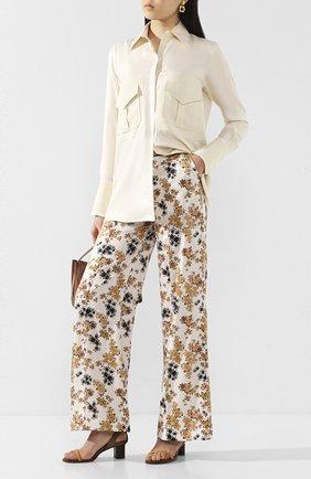 Женская шелковая рубашка VICTORIA, VICTORIA BECKHAM кремвого цвета, арт. 2220WSH000942A | Фото 2