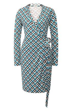 Женское шелковое платье DIANE VON FURSTENBERG бирюзового цвета, арт. 14069DVF | Фото 1