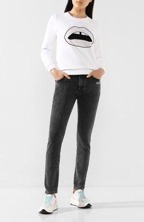 Женская хлопковый свитшот MARKUS LUPFER белого цвета, арт. SW359 | Фото 2