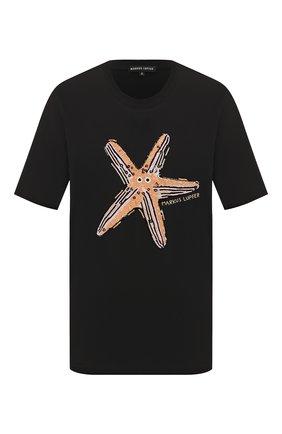 Женская хлопковая футболка MARKUS LUPFER черного цвета, арт. TEE399 | Фото 1