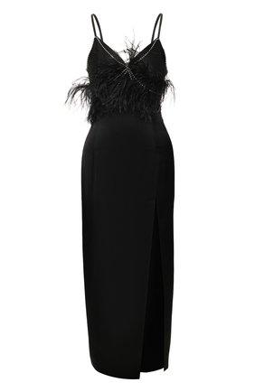 Женское платье с отделкой перьями ACT N1 черного цвета, арт. SSD2004   Фото 1 (Длина Ж (юбки, платья, шорты): Миди; Материал внешний: Синтетический материал; Рукава: Без рукавов, Короткие)