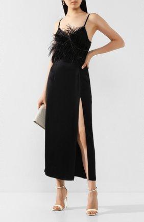 Женское платье с отделкой перьями ACT N1 черного цвета, арт. SSD2004   Фото 2 (Длина Ж (юбки, платья, шорты): Миди; Материал внешний: Синтетический материал; Рукава: Без рукавов, Короткие)