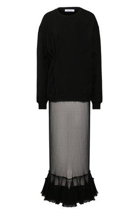 Женское платье ACT N1 черного цвета, арт. SSF2010   Фото 1 (Рукава: Длинные; Случай: Повседневный; Длина Ж (юбки, платья, шорты): Макси; Материал внешний: Хлопок)