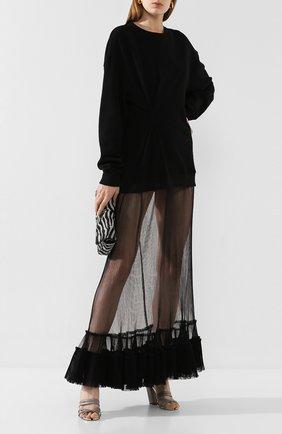 Женское платье ACT N1 черного цвета, арт. SSF2010   Фото 2 (Рукава: Длинные; Случай: Повседневный; Длина Ж (юбки, платья, шорты): Макси; Материал внешний: Хлопок)