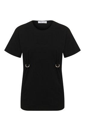 Женская хлопковая футболка ACT N1 черного цвета, арт. SSTS2001   Фото 1 (Рукава: Короткие; Длина (для топов): Стандартные; Материал внешний: Хлопок; Стили: Кэжуэл; Принт: Без принта; Женское Кросс-КТ: Футболка-одежда)