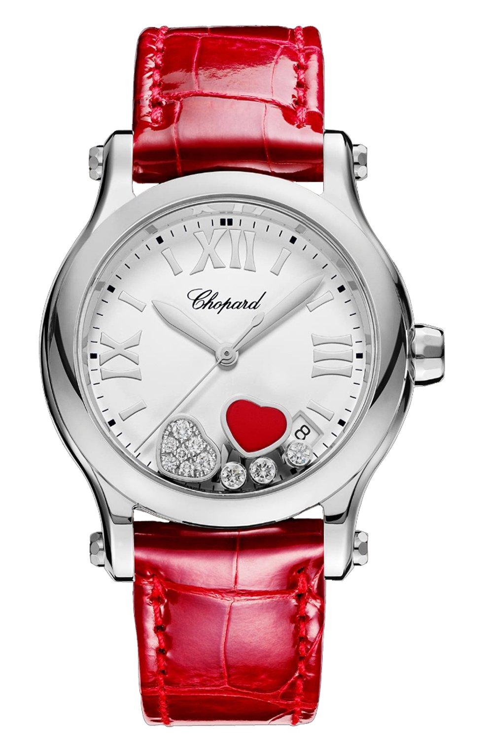 Женские часы happy hearts CHOPARD белого цвета, арт. 278582-3005 | Фото 1