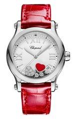 Женские часы happy hearts CHOPARD бесцветного цвета, арт. 278582-3005 | Фото 1 (Материал корпуса: Сталь; Цвет циферблата: Белый; Механизм: Кварц)