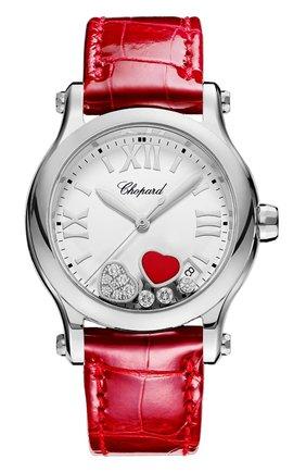 Женские часы happy hearts CHOPARD бесцветного цвета, арт. 278582-3005 | Фото 1 (Механизм: Кварц; Материал корпуса: Сталь; Цвет циферблата: Белый)