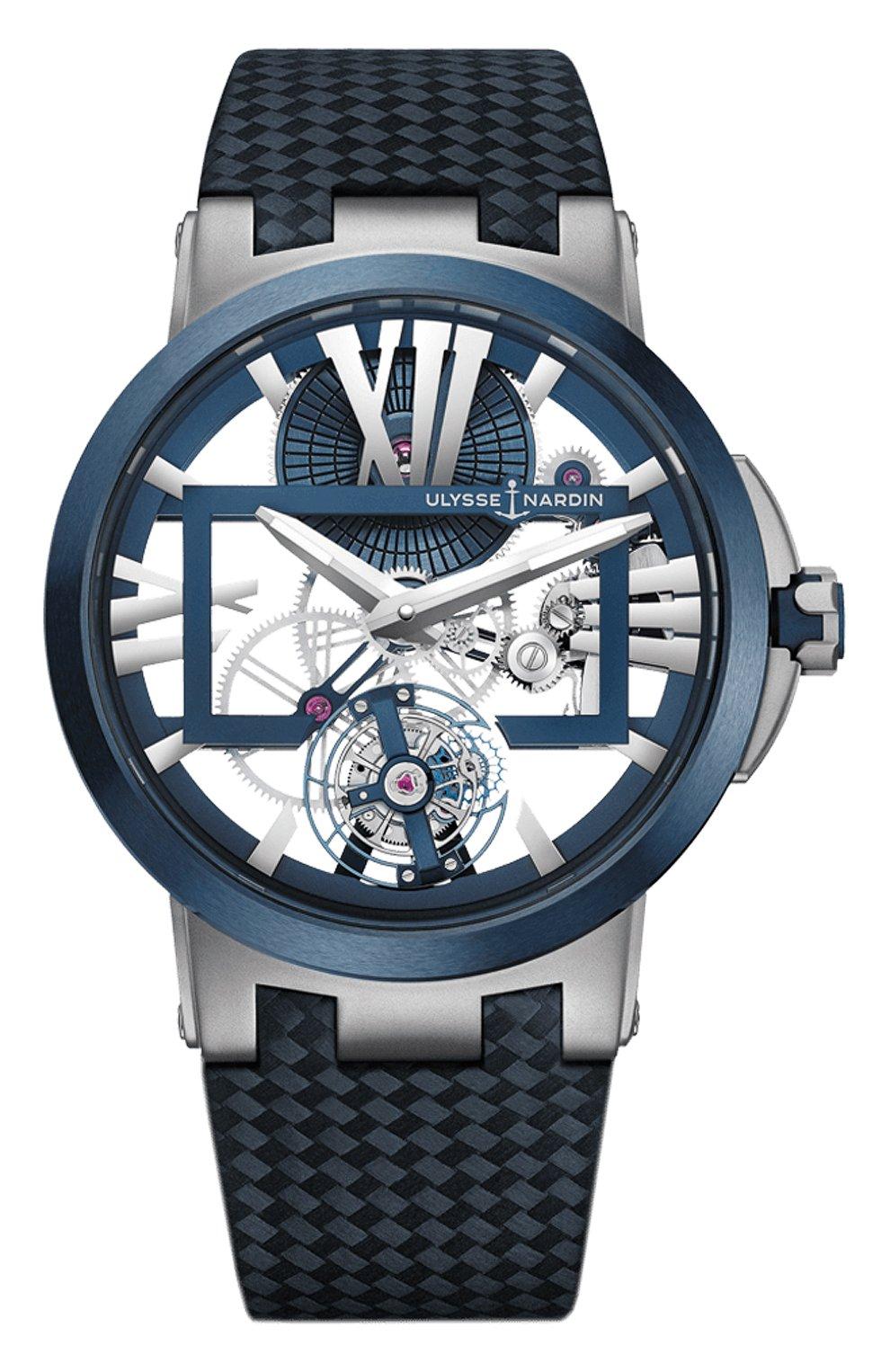 Мужские часы skeleton tourbillon ULYSSE NARDIN бесцветного цвета, арт. 1713-139/43   Фото 1 (Механизм: Механика; Материал корпуса: Титан; Цвет циферблата: Другое)