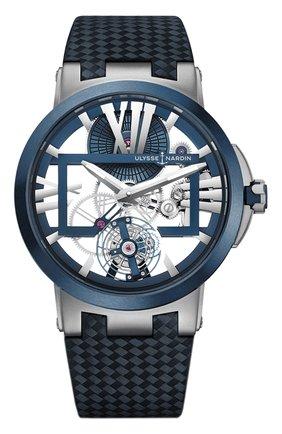 Мужские часы skeleton tourbillon ULYSSE NARDIN серого цвета, арт. 1713-139/43 | Фото 1