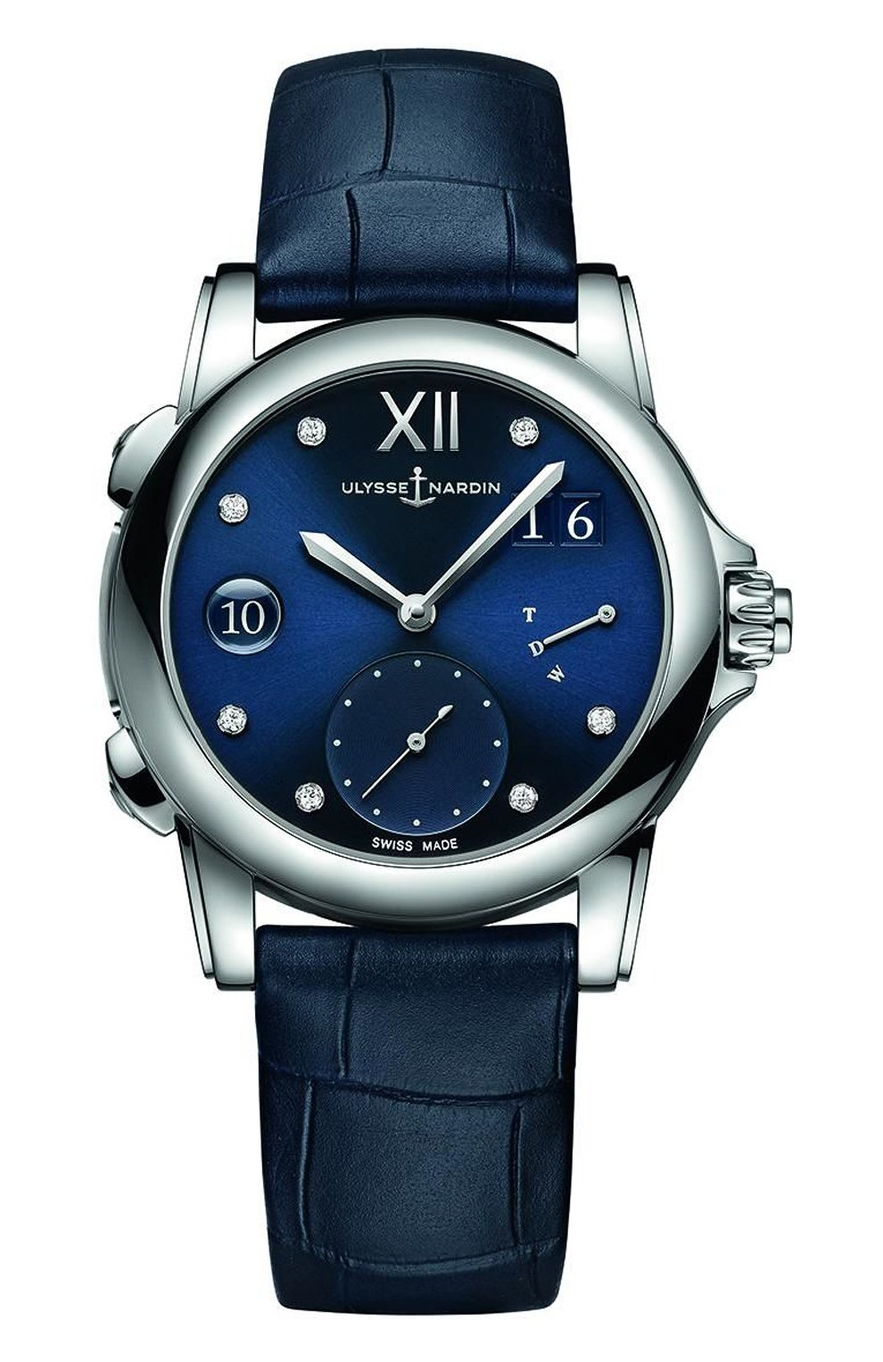 Женские часы dual time lady ULYSSE NARDIN синего цвета, арт. 3243-222/393 | Фото 1