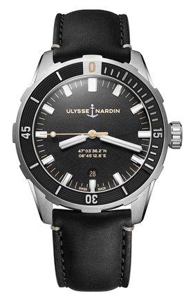 Мужские часы diver 42 mm ULYSSE NARDIN черного цвета, арт. 8163-175/92 | Фото 1