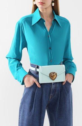 Женская поясная сумка devotion DOLCE & GABBANA голубого цвета, арт. BB6706/AV893   Фото 2