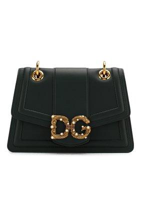 Женская сумка dg amore small DOLCE & GABBANA зеленого цвета, арт. BB6676/AK295   Фото 1 (Сумки-технические: Сумки через плечо; Материал: Натуральная кожа; Размер: small; Ремень/цепочка: На ремешке; Женское Кросс-КТ: Вечерняя сумка)