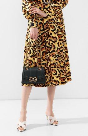 Женская сумка dg amore small DOLCE & GABBANA зеленого цвета, арт. BB6676/AK295   Фото 2 (Сумки-технические: Сумки через плечо; Материал: Натуральная кожа; Размер: small; Ремень/цепочка: На ремешке; Женское Кросс-КТ: Вечерняя сумка)