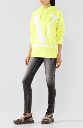 Женские комбинированные кроссовки valentino garavani rockrunner plus VALENTINO хаки цвета, арт. TW0S0X89/DRN   Фото 2