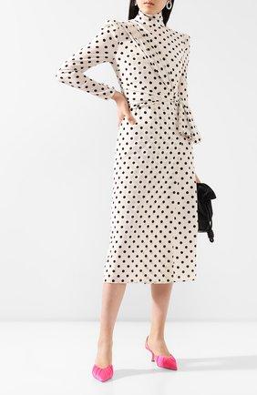 Женское шелковое платье ALESSANDRA RICH черно-белого цвета, арт. FAB2027-F2818 | Фото 2