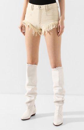 Женские джинсовые шорты ISABEL MARANT кремвого цвета, арт. SH0331-20E010I/ENEIDA   Фото 3