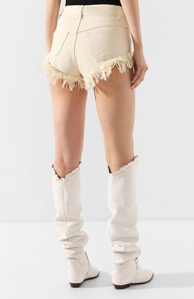 Женские джинсовые шорты ISABEL MARANT кремвого цвета, арт. SH0331-20E010I/ENEIDA   Фото 4