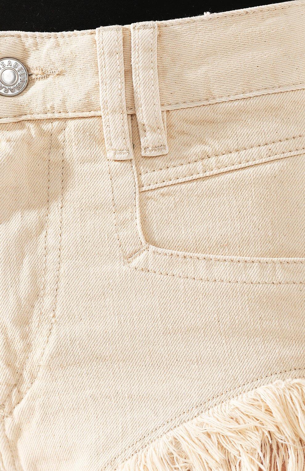 Женские джинсовые шорты ISABEL MARANT кремвого цвета, арт. SH0331-20E010I/ENEIDA   Фото 5