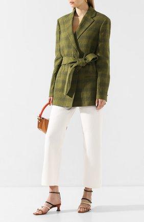 Женский льняной жакет ACNE STUDIOS зеленого цвета, арт. AH0068 | Фото 2