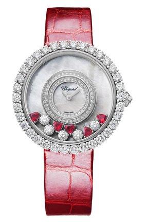 "Женские часы happy diamonds icons round ""ruby heart"" CHOPARD перламутрового цвета, арт. 204445-1006   Фото 1"