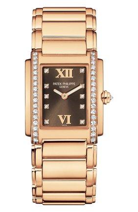 Женские часы rose gold PATEK PHILIPPE белого цвета, арт. 4910/11 R-011   Фото 1