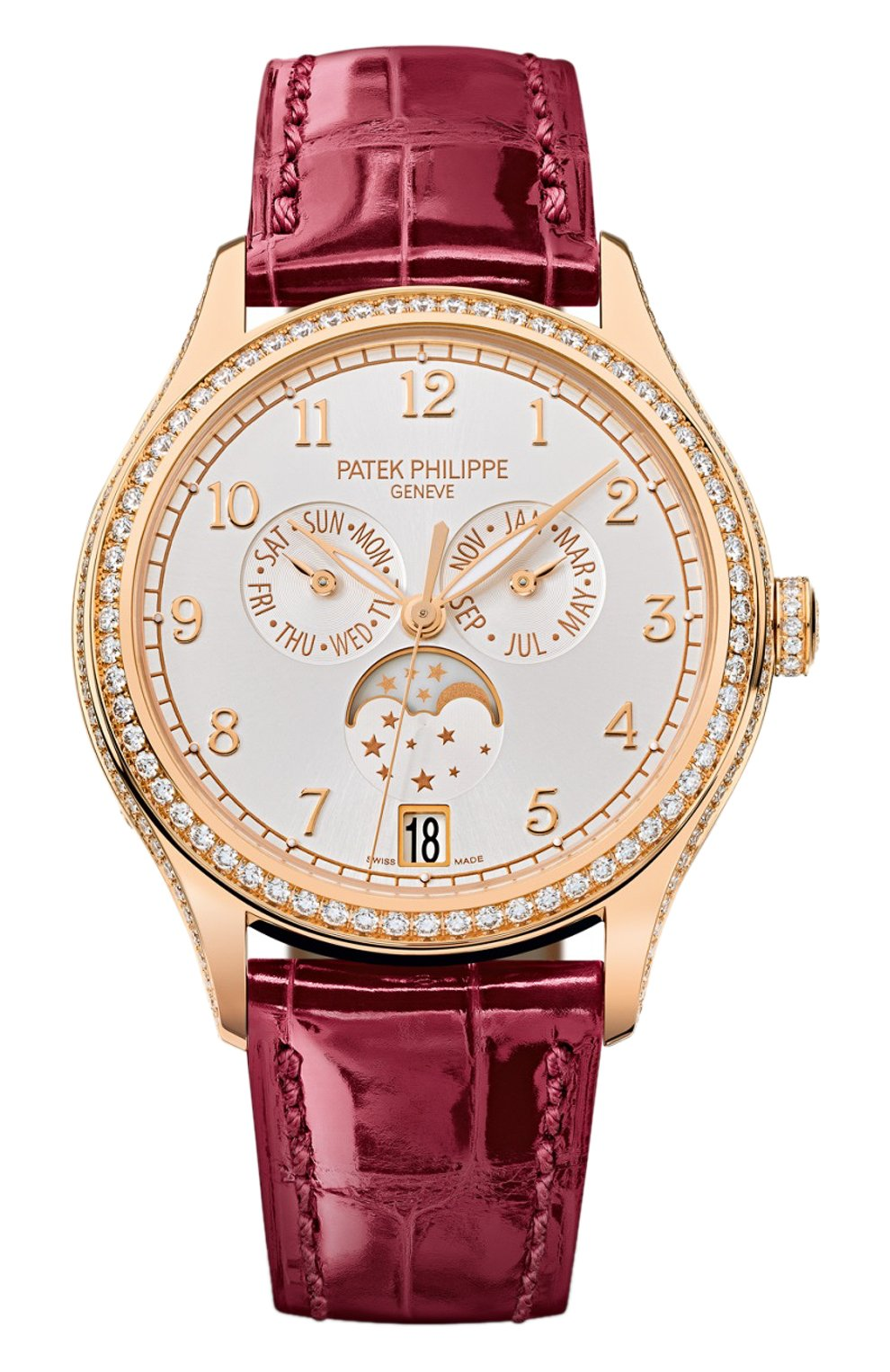 Женские часы moon phase rose gold PATEK PHILIPPE бесцветного цвета, арт. 4947 R-001 | Фото 1 (Механизм: Автомат; Материал корпуса: Розовое золото; Цвет циферблата: Серебристый)
