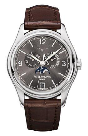Мужские часы white gold annual calendar black watch PATEK PHILIPPE черного цвета, арт. 5146 G-010 | Фото 1