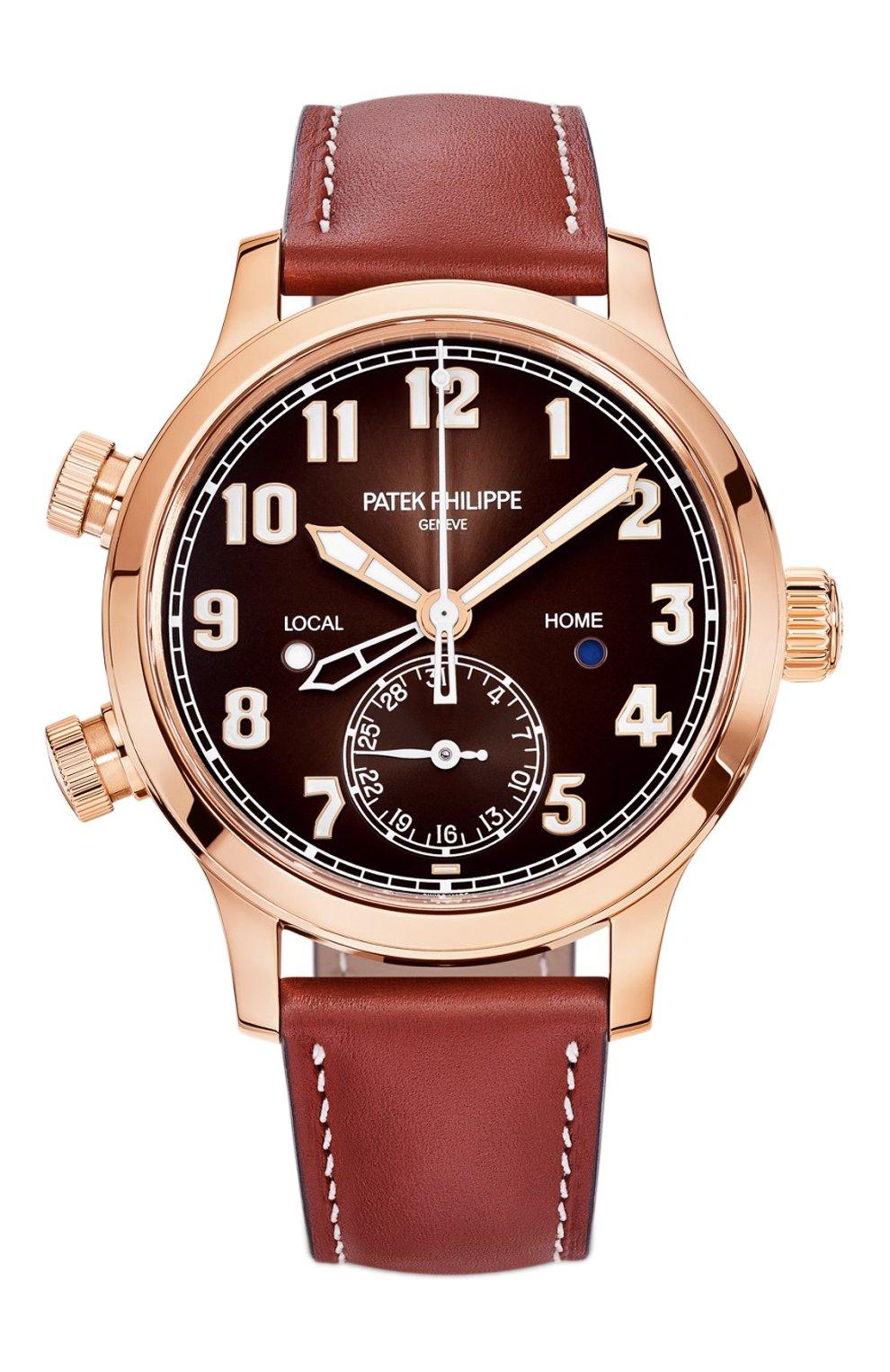 Женские часы calatrava pilot travel time PATEK PHILIPPE бесцветного цвета, арт. 7234 R-001   Фото 1 (Механизм: Автомат; Материал корпуса: Розовое золото; Цвет циферблата: Другое)