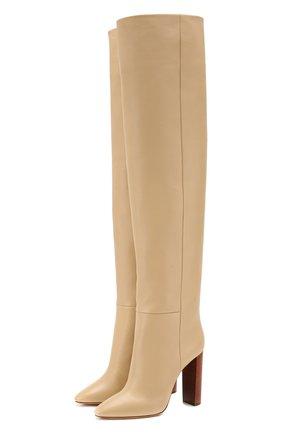 Женские кожаные ботфорты 76 SAINT LAURENT кремвого цвета, арт. 620182/1F200 | Фото 1
