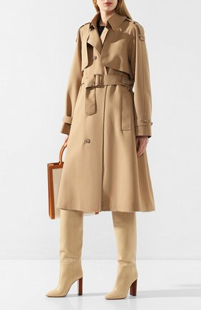Женские кожаные ботфорты 76 SAINT LAURENT кремвого цвета, арт. 620182/1F200 | Фото 2
