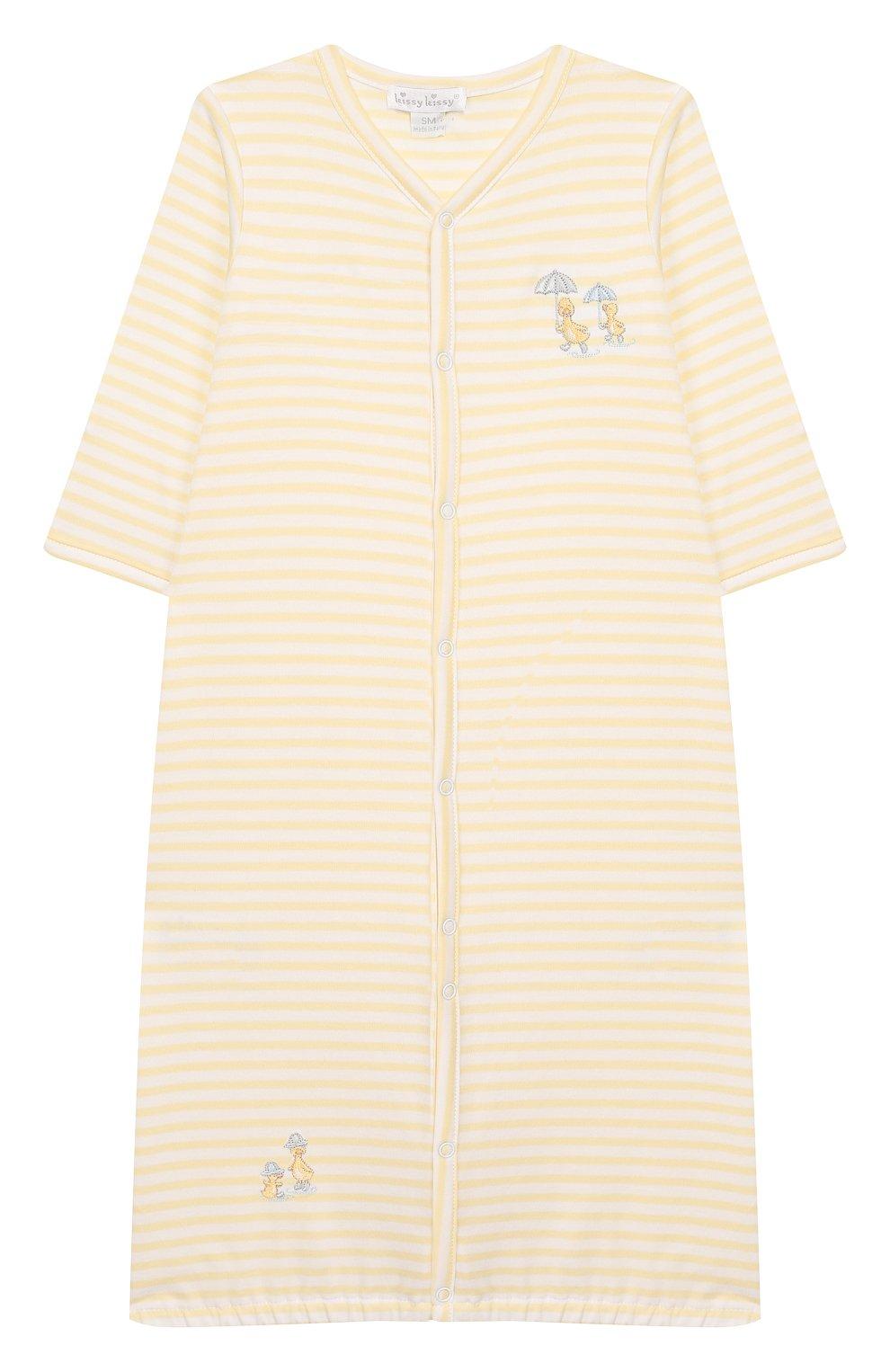 Детский хлопковая сорочка KISSY KISSY желтого цвета, арт. KNW03460N | Фото 1